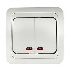 Выключатель двухклавишный с подсветкой CLASSICO белый 2123 IN HOME
