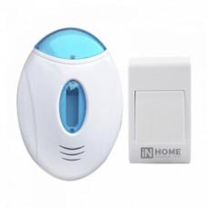 Звонок беспроводной ЗБ-3 32 мелодии 120м с подсветкой с кнопкой бело-голубой IN HOME