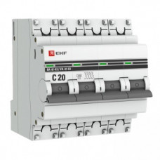 Автоматический выключатель EKF PROxima ВА47-63 4P 20А характеристика С