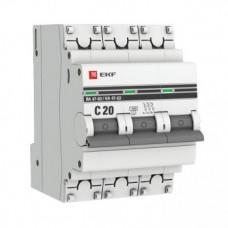 Автоматический выключатель EKF PROxima ВА47-63 3P 20А характеристика С