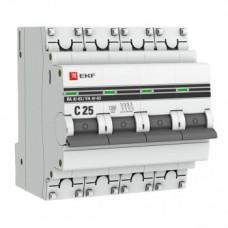 Автоматический выключатель EKF PROxima ВА47-63 4P 25А характеристика С