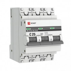Автоматический выключатель EKF PROxima ВА47-63 3P 25А характеристика С