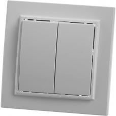 Выключатель 2-клавишный, белый, 220V, 10А, серия Эрна,STEKKER