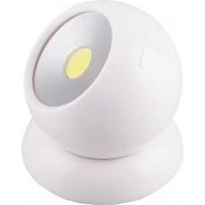 Светодиодный поворотный светильник 1LED 3W (3*AAA в комплект не входят),  75*80мм, белый, FN1209 Feron
