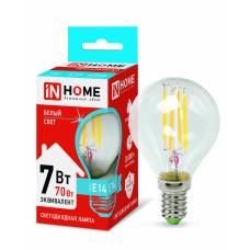 Лампа светодиодная LED-ШАР-deco 7Вт 230В Е14 4000К 630Лм прозрачная IN HOME