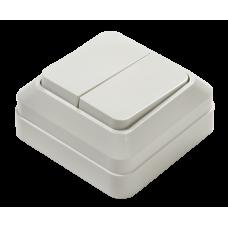 Выключатель двухклавишный BOLLETO белый накладной 7023 IN HOME