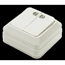 Выключатель двухклавишный с подсветкой BOLLETO белый накладной 7123 IN HOME