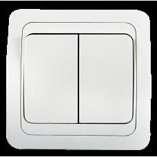 Выключатель двухклавишный CLASSICO белый 2023 IN HOME