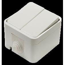 Выключатель двухклавишный AQUA белый полугерметичный 3200 IN HOME