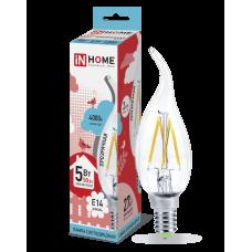 Лампа светодиодная LED-СВЕЧА НА ВЕТРУ-deco 5Вт 230В Е14 4000К 450Лм прозрачная IN HOME