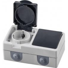 Блок: розетка одноместная с заземляющим контактом открытой установки, 250В, 16А + выключатель одноклавишный открытой установки однополюсный, 250В, 10А, серый/графит PST16-11-54/10-111-54