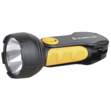 Ultraflash LED3828   (фонарь аккум 220В, черный/желтый, 1LED 0,5Вт, SLA, пласт, склад. вил коробка)