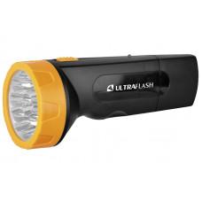 Ultraflash LED3829 (фонарь акку 220В, черн /желт, 9 LED, SLA, пластик, коробка)