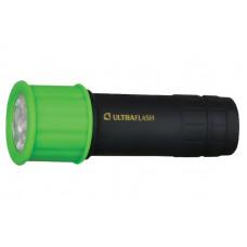Ultraflash LED15001-C (фонарь 3XR03 светофор,  зеленый с черным, 9 LED, пластик, блистер)