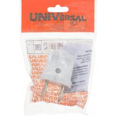 """Вилка """"UNIVersal"""" б/з белая 6А 250В (еврослот)"""