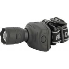 Ultraflash LED5354 (фонарь налобн, серый, 1 ватт LED, ZOOM, 3 реж, 3XR03,  пласт, коробка)