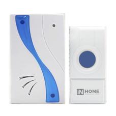 Звонок беспроводной ЗБ-8 32 мелодии 120м с кнопкой IP44 бело-голубой IN HOME